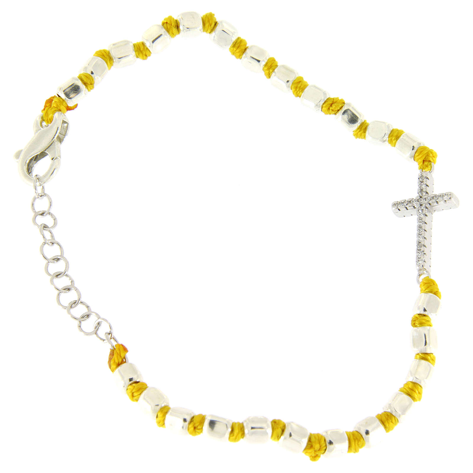 Bracelet with multifaceted spheres sized 2 mm with white zirconate cross and yellow cotton cord 4