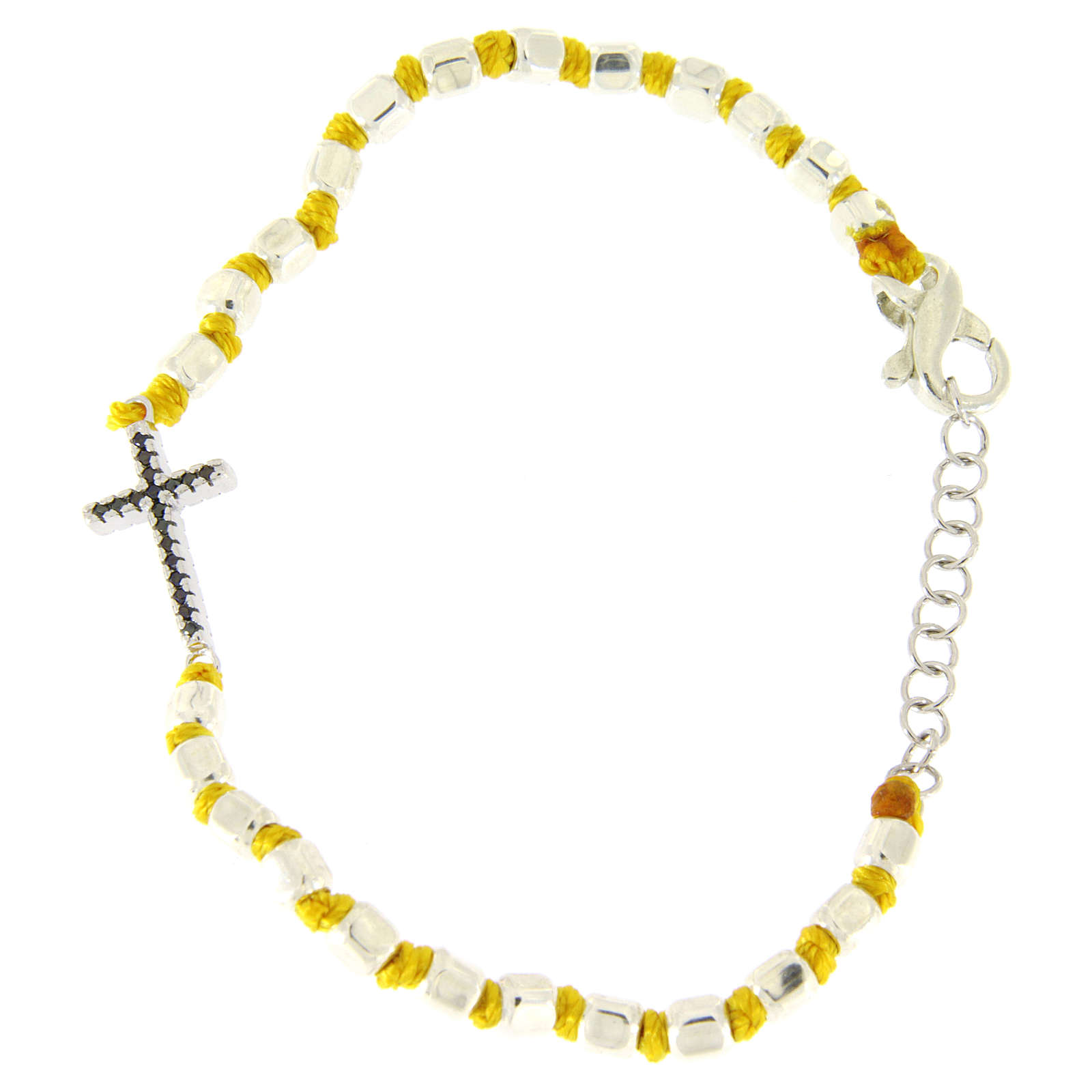Bracelet with multifaceted spheres sized 2 mm with black zirconate cross and yellow cotton cord 4