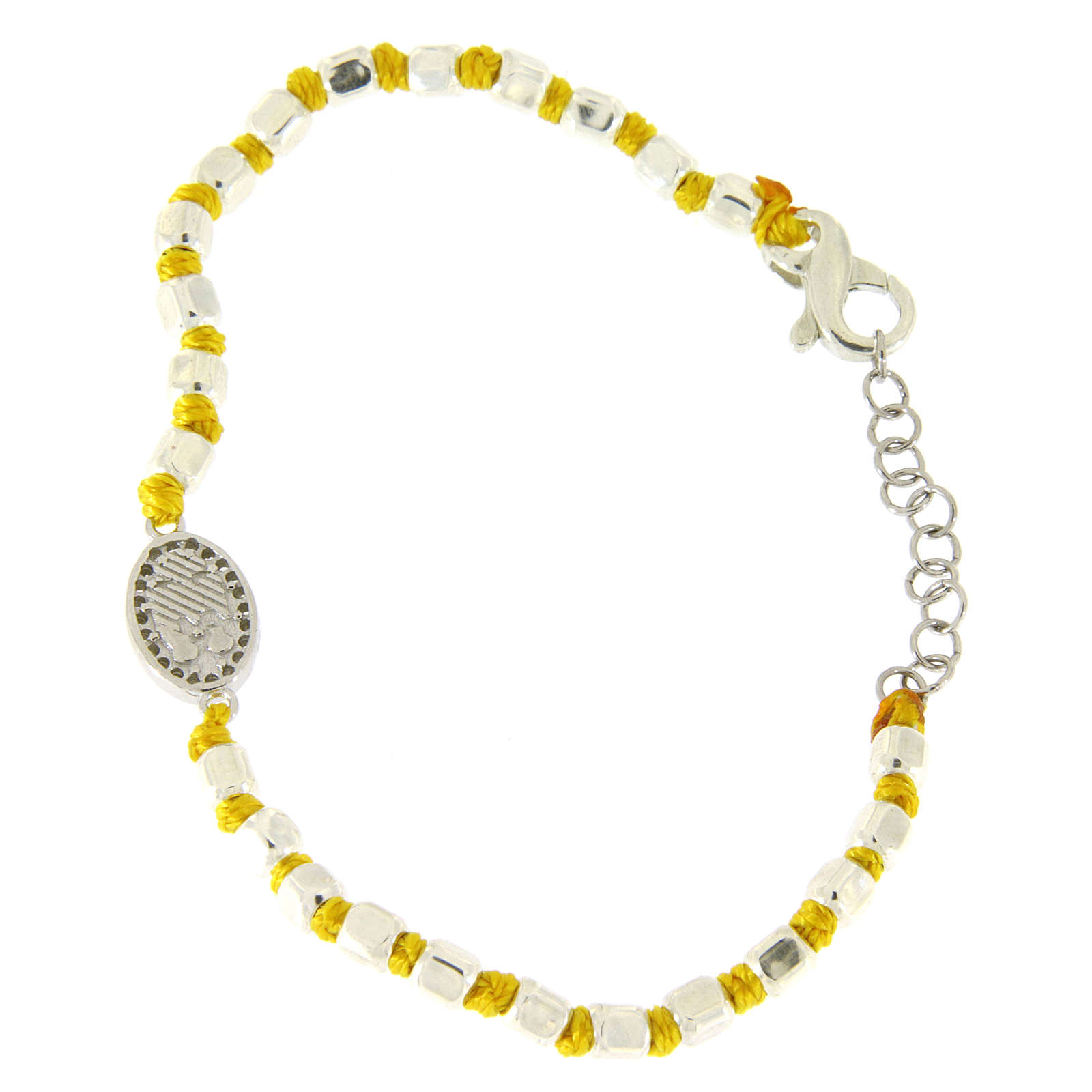 Pulsera esferas talladas plata 2 mm, nudos algodón amarillos, pequeña medalla S. Rita zircones blancos 4
