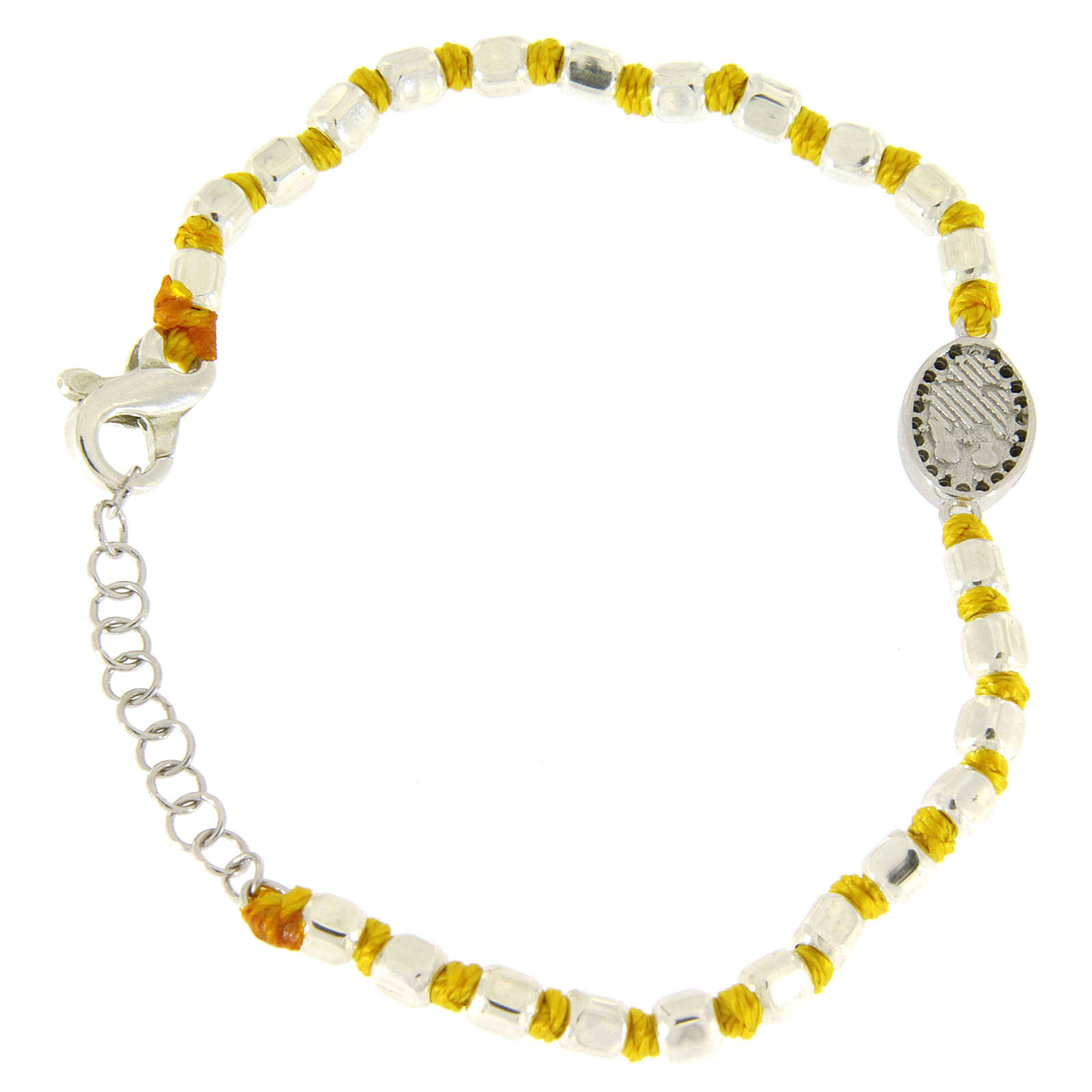 Bracelet with multifaceted spheres sized 2 mm with black zirconate Saint Rita medalet on yellow cotton cord 4