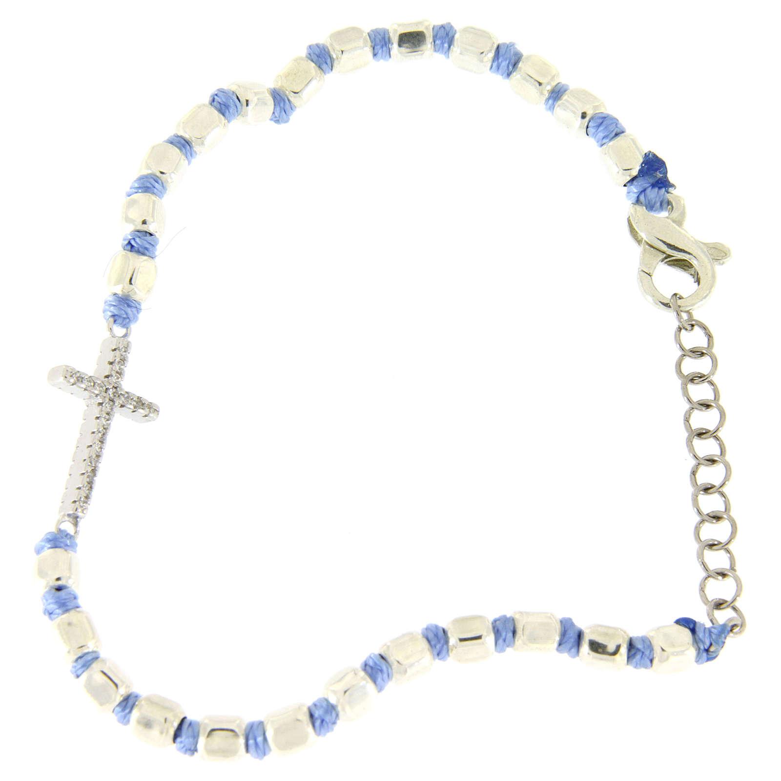 Bracciale croce zirconata bianca, sfere cubiche 2 mm e nodi azzurri 4