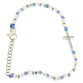 Bracelet with white zirconate cross, 2 mm cubic spheres and light blue knots s1