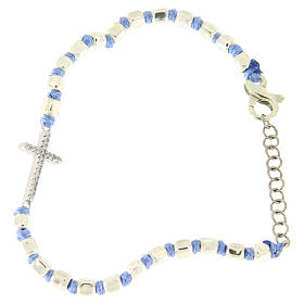 Bracelet with white zirconate cross, 2 mm cubic spheres and light blue knots s2