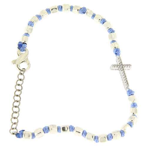 Bracelet with white zirconate cross, 2 mm cubic spheres and light blue knots 1