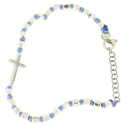 Bracelet with white zirconate cross, 2 mm cubic spheres and light blue knots 2