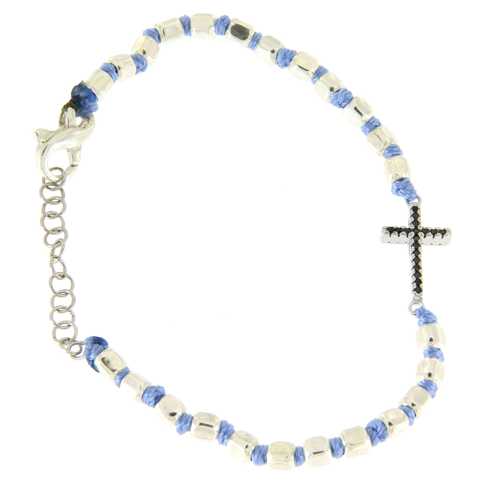 Bracciale croce zirconi neri, sfere cubiche 2 mm e nodi azzurri 4