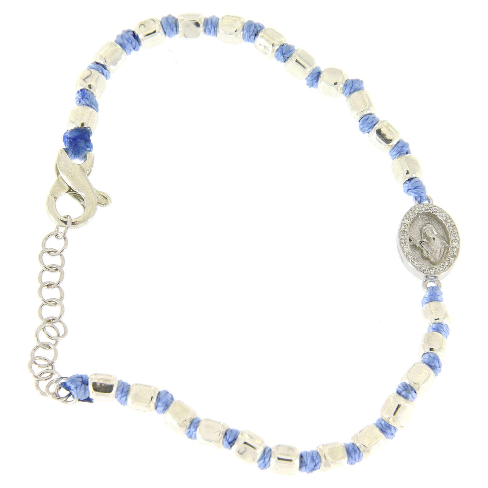 Pulsera esferas talladas plata 2 mm cruz azul algodón S. Rita zircones blancos 4