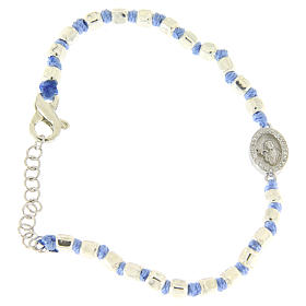 Silver bracelets: Bracelet with 2 mm multifaceted beads in silver, light blue cord and Saint Rita medal with white zircons