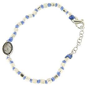 Pulsera esferas talladas plata 2 mm, cuerda con nudos azul, pequeña medalla S. Rita zircones negros s1