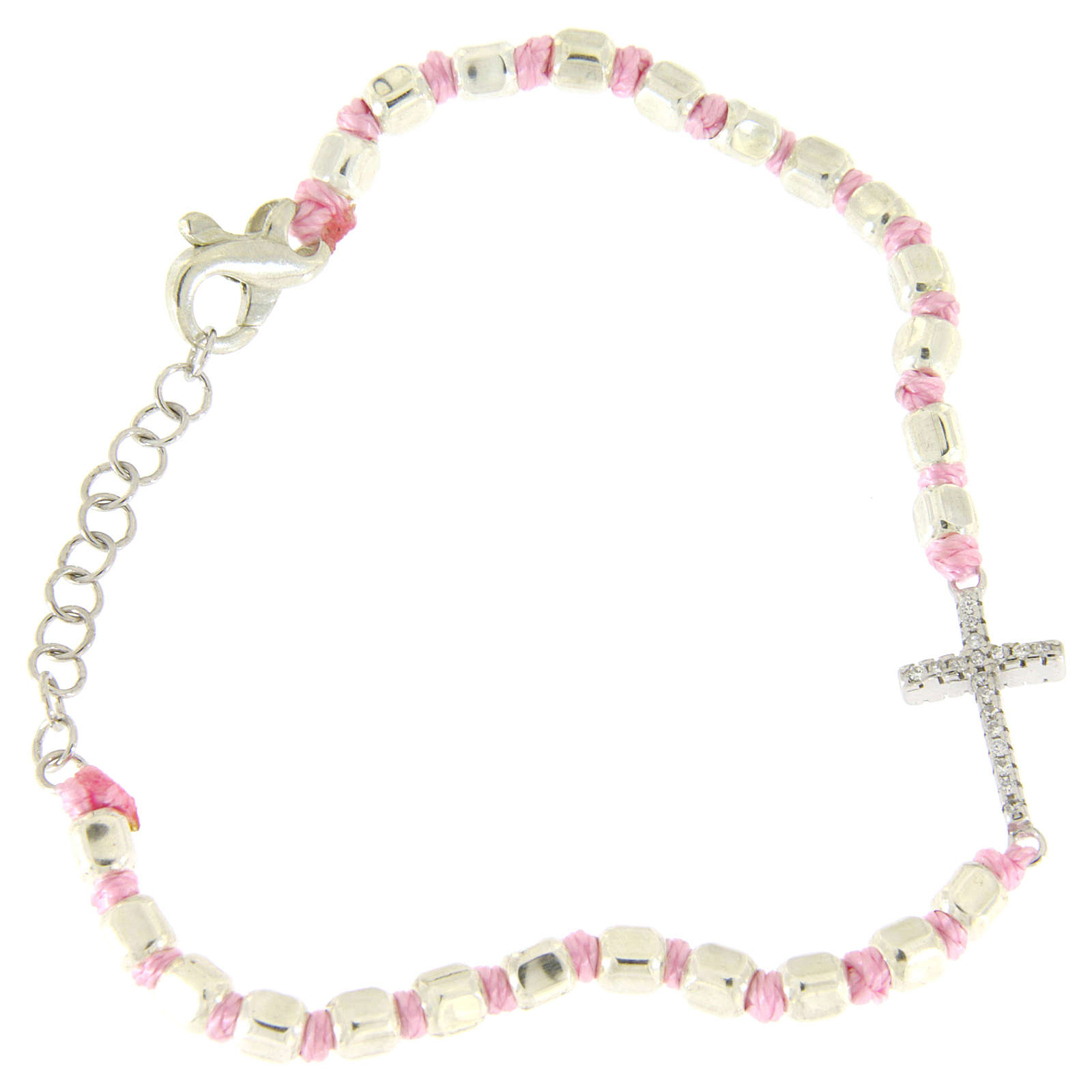 Bracelet with cubic sphere 2 mm, zirconate cross, pink cord with knot 4