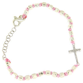 Bracelet with cubic sphere 2 mm, zirconate cross, pink cord with knot s1