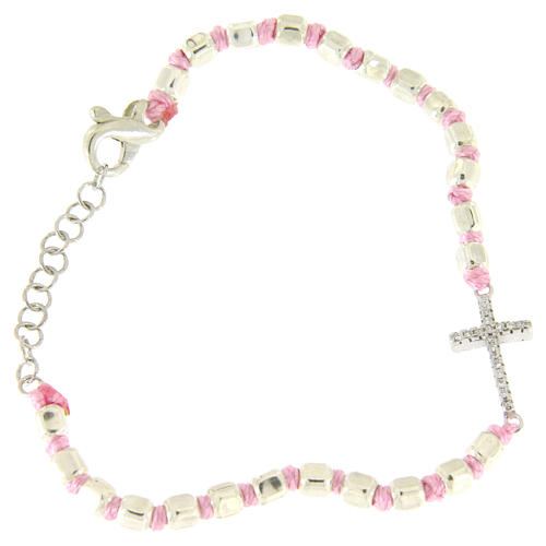 Bracelet with cubic sphere 2 mm, zirconate cross, pink cord with knot 1