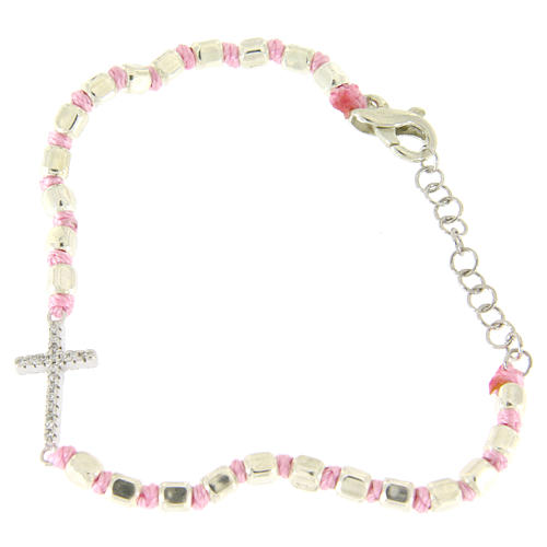 Bracelet with cubic sphere 2 mm, zirconate cross, pink cord with knot 2