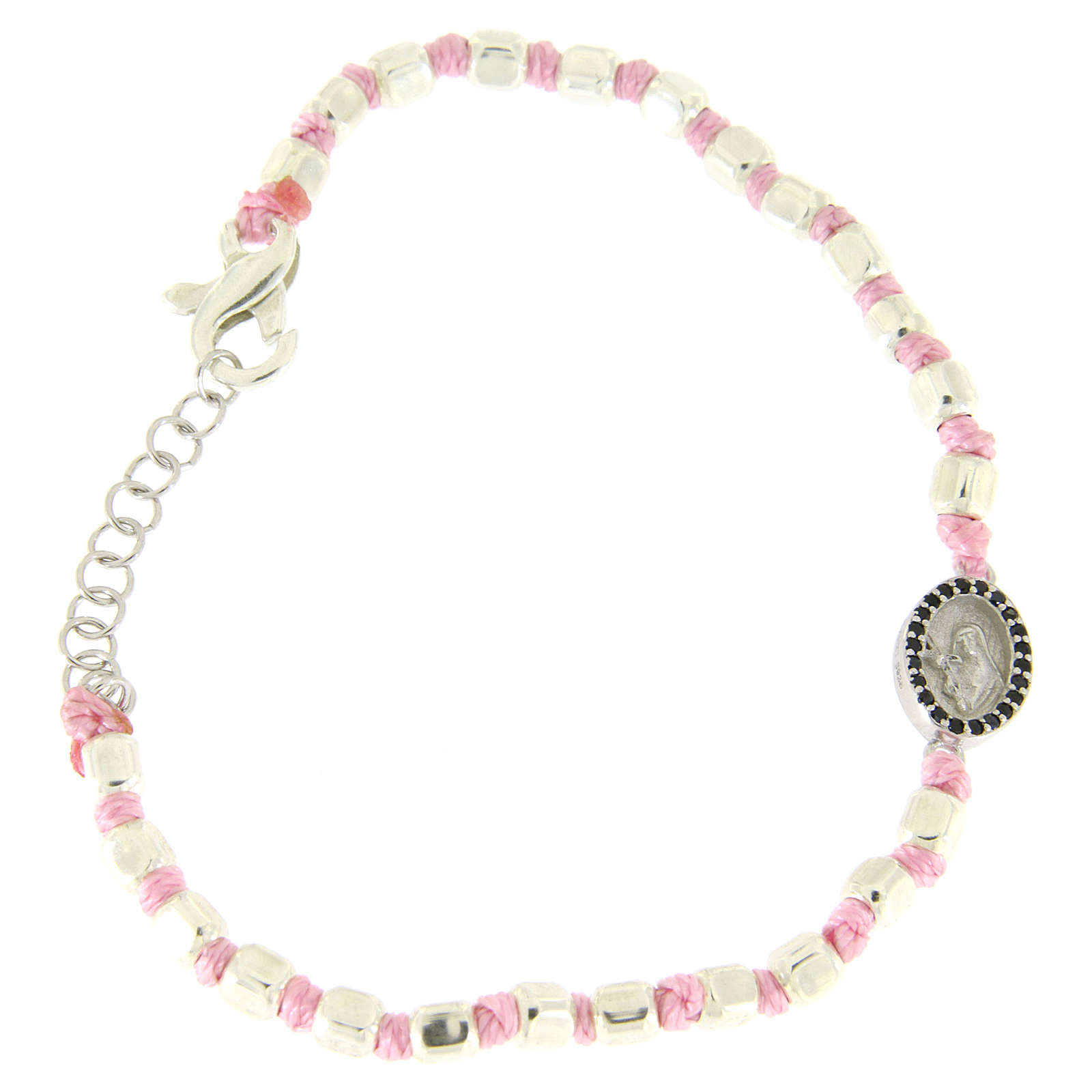 Bracciale sfere sfaccettate argento 2 mm, cordina rosa in cotone, medaglietta S. Rita zirconi neri 4