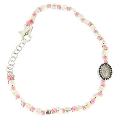 Bracciale sfere sfaccettate argento 2 mm, cordina rosa in cotone, medaglietta S. Rita zirconi neri 1