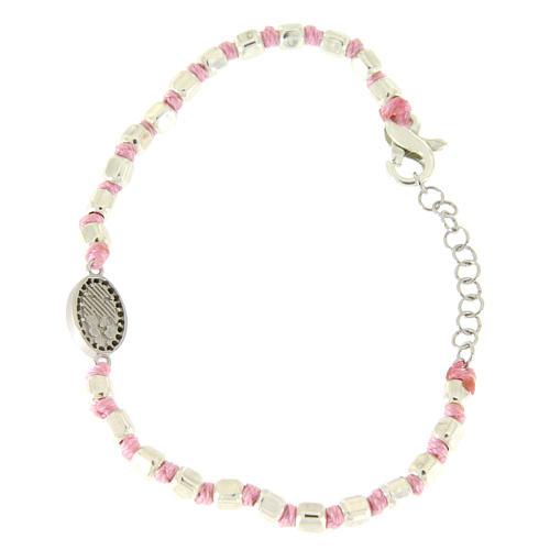 Bracciale sfere sfaccettate argento 2 mm, cordina rosa in cotone, medaglietta S. Rita zirconi neri 2