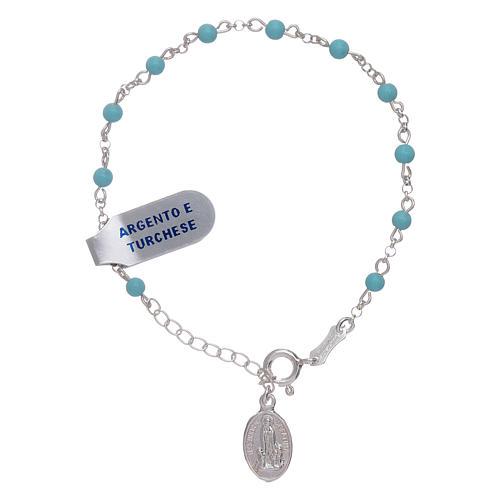 3a7eb5574653 Pulsera plata 925 y esferas turquesas Nuestra Señora de Fátima 1