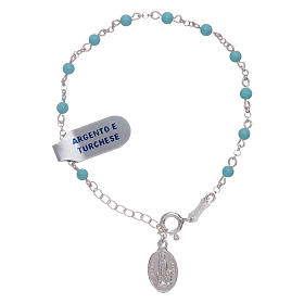 Bracelet in 925 sterling silver and turquoise spheres 4 mm Our Lady of Fatima s1