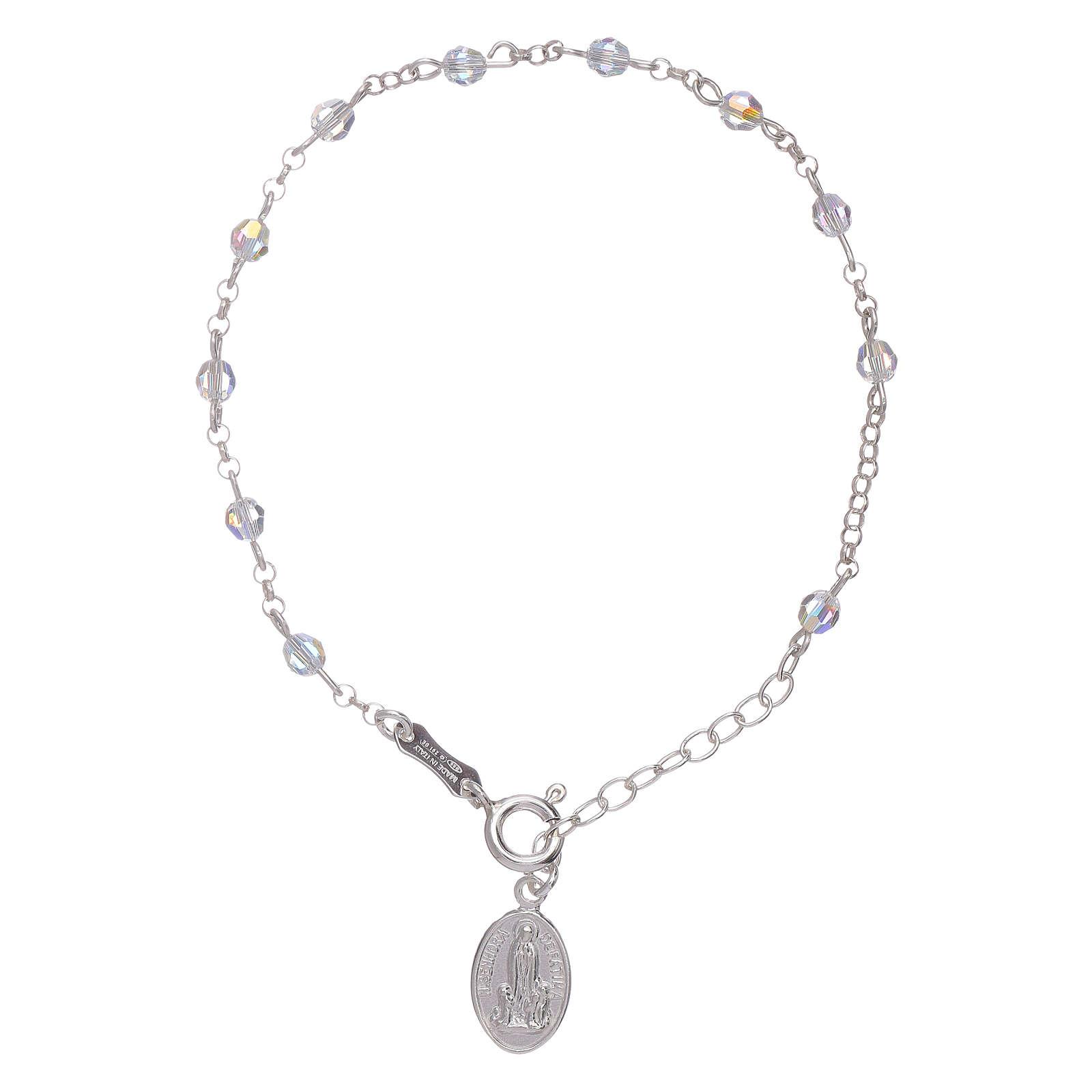Pulsera plata 925 y esferas Swarovski Virgen de Fátima 4
