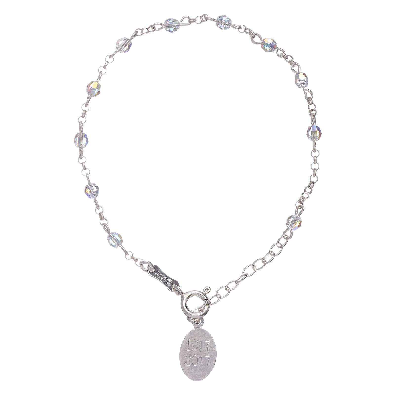 Bracelet in 925 sterling silver with Swarovski spheres Our Lady of Fatima 4