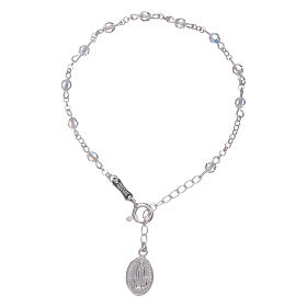 Bracelet in 925 sterling silver with Swarovski spheres Our Lady of Fatima s1