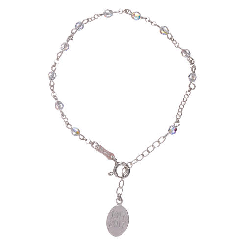 Bracelet in 925 sterling silver with Swarovski spheres Our Lady of Fatima 2