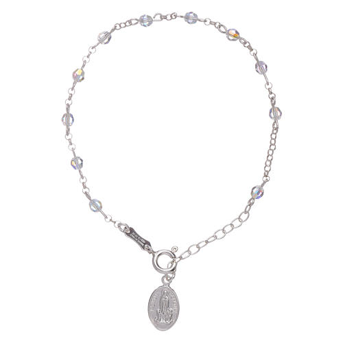 Bracelet in 925 sterling silver with Swarovski spheres Our Lady of Fatima 3