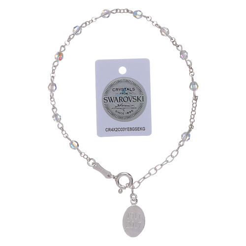 Bracelet in 925 sterling silver with Swarovski spheres Our Lady of Fatima 5