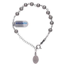 Pulsera perlas 6 mm plata 925 satinada Virgen de Fátima s2
