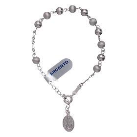 Pulsera perlas 6 mm plata 925 satinada Virgen de Fátima s3