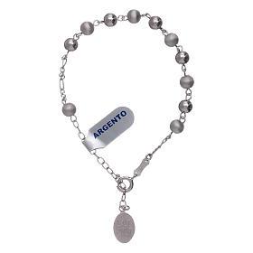 Pulsera perlas 6 mm plata 925 satinada Virgen de Fátima s4