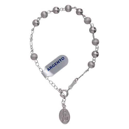 Pulsera perlas 6 mm plata 925 satinada Virgen de Fátima 3