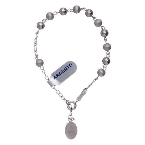 Pulsera perlas 6 mm plata 925 satinada Virgen de Fátima 4
