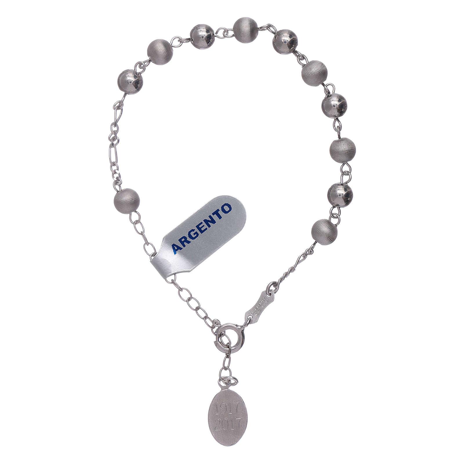 53d6b4653ee Pulseira contas 6 mm prata 925 acetinada Nossa Senhora de Fátima 4