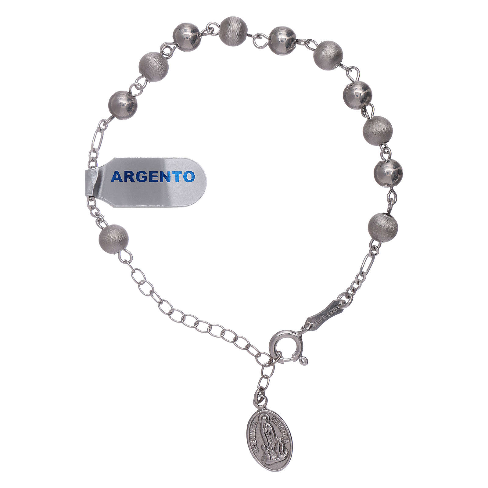 Bracelet in 925 sterling silver with peals 6 mm satinized Our Lady of Fatima 4