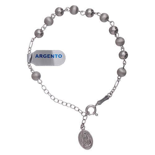 Bracelet in 925 sterling silver with peals 6 mm satinized Our Lady of Fatima 1
