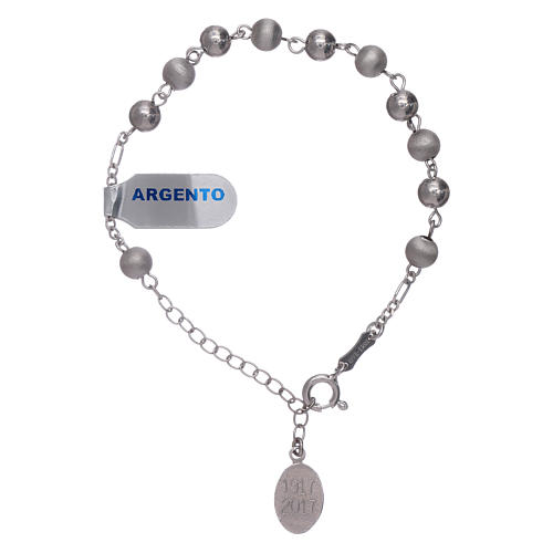 Bracelet in 925 sterling silver with peals 6 mm satinized Our Lady of Fatima 2