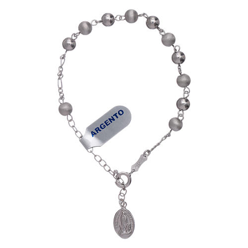 Bracelet in 925 sterling silver with peals 6 mm satinized Our Lady of Fatima 3