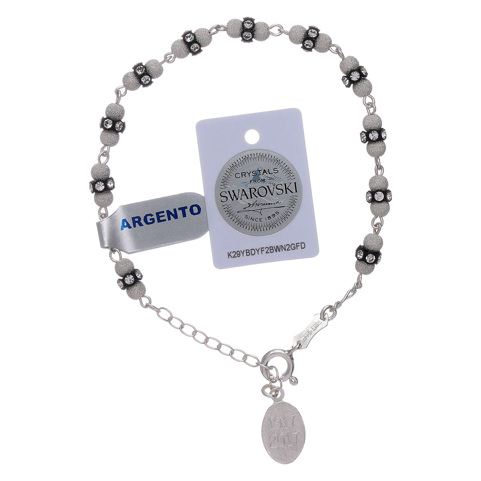 Our Lady of Fatima sterling silver bracelet, with Swarovski crystals 4