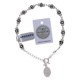 Our Lady of Fatima sterling silver bracelet, with Swarovski crystals s2