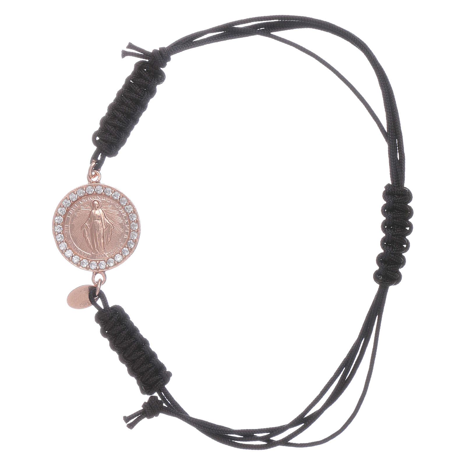 Bracciale cordino e medaglietta Madonna Miracolosa arg 925 rosé 4