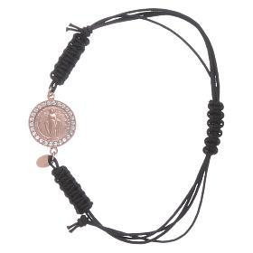 Bracciale cordino e medaglietta Madonna Miracolosa arg 925 rosé s1