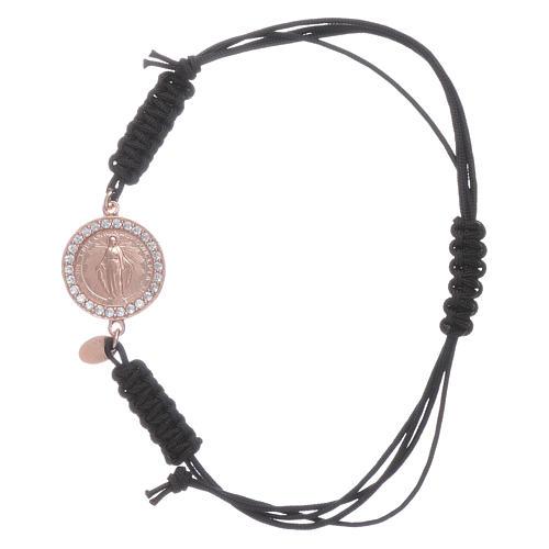 Bracciale cordino e medaglietta Madonna Miracolosa arg 925 rosé 1