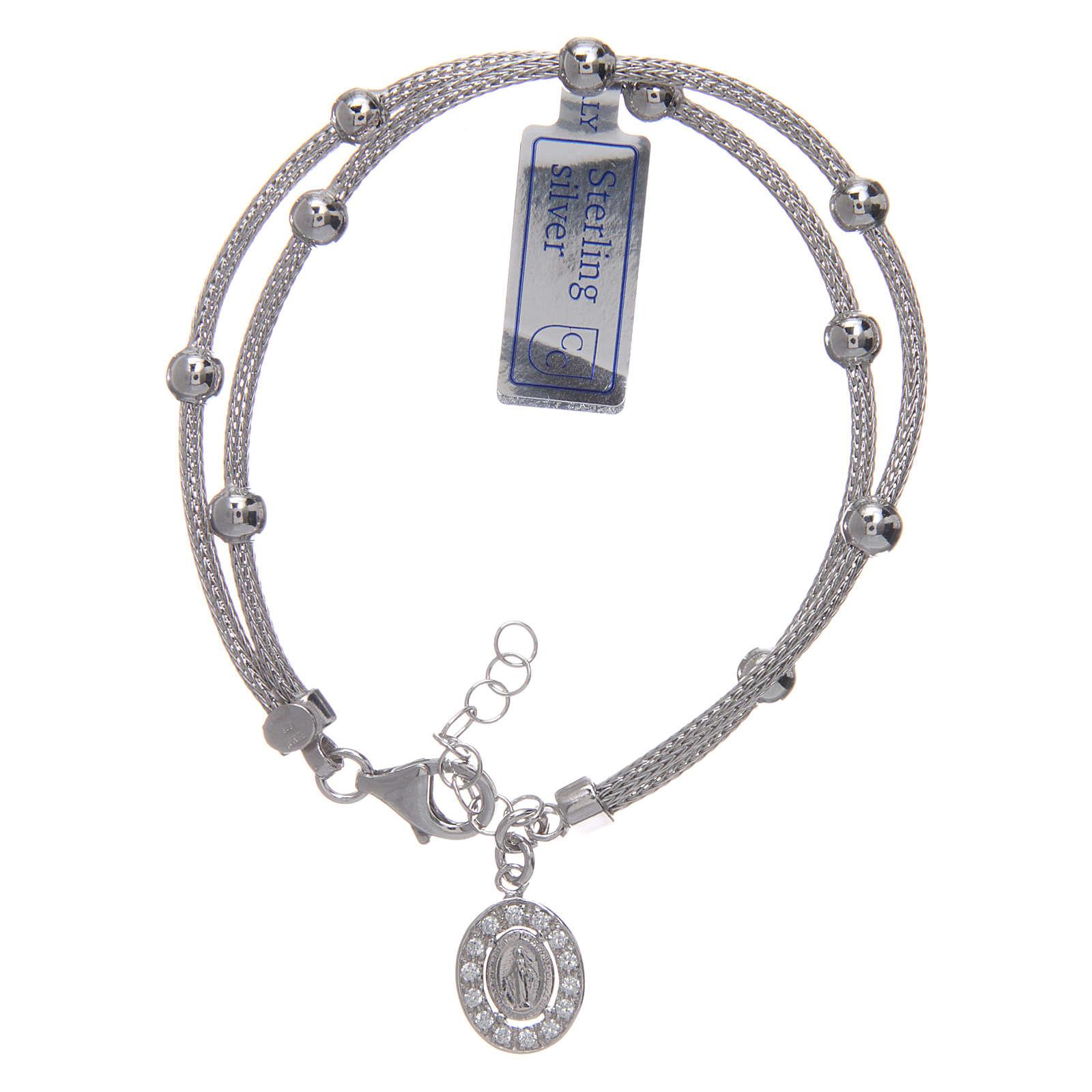 Bracciale  in argento 925 rodiato medaglia Miracolosa con strass 4