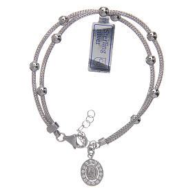 Bracciali in argento: Bracciale  in argento 925 rodiato medaglia Miracolosa con strass