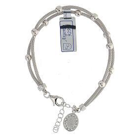 Bracciale  in argento 925 rodiato medaglia Miracolosa con strass