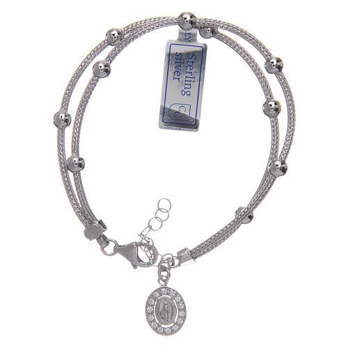 Bracciale  in argento 925 rodiato medaglia Miracolosa con strass 1