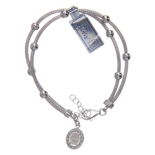 Bracciale  in argento 925 rodiato medaglia Miracolosa con strass 2