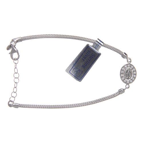 Bracelet en argent 925 médaille Miraculeuse avec strass 1