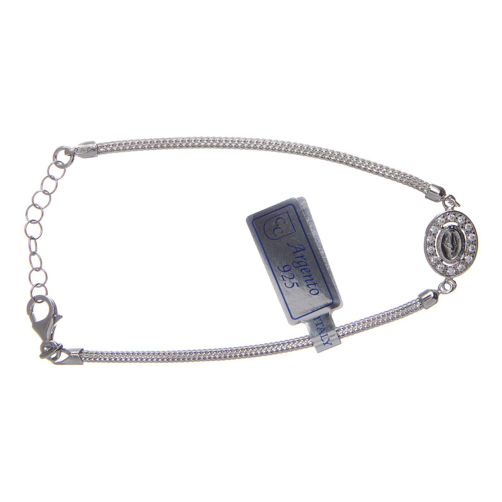 Bracciale  in argento 925 con medaglia Miracolosa e strass 4